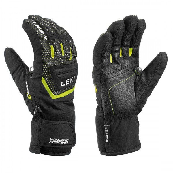 Leki Worldcup S Junior Fingerhandschuhe schw.-ice lemon