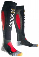 X-Socks Ski Carving Silver Skisocken Anthracite/Red